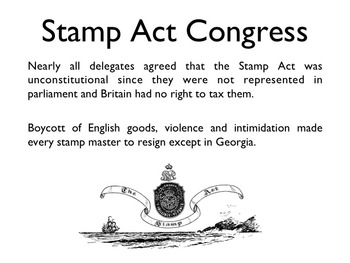 American Revolutionary War - The Stamp Act PowerPoint