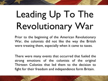 American Revolutionary War - Timeline Of The War PowerPoint