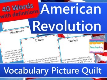 American Revolution Word Wall or Vocab Quilt {Draw Your Own!}