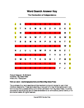 Declaration of Independence Word Search (Grades 2-5)