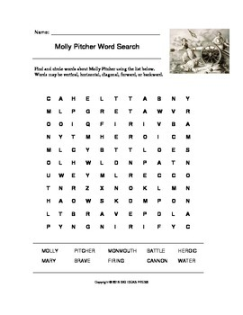 Molly Pitcher American Revolutionary War Word Search (Grades 2-5)