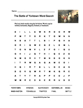 The Battle of Yorktown Word Search (Grades 4-5)