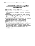 American Revolutionary War short essays and art project