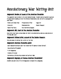 American Revolutionary War writing unit