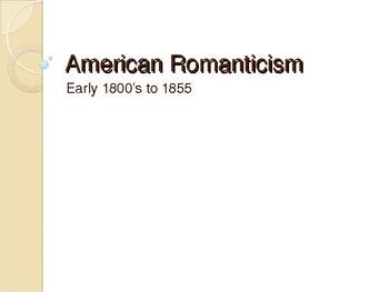 American Romanticism 1