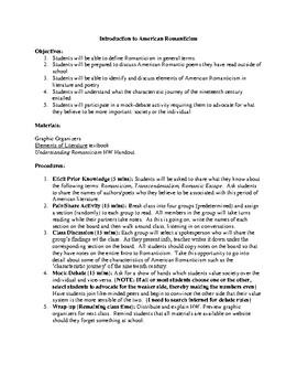 American Romanticism Unit Plan (9 Lessons)