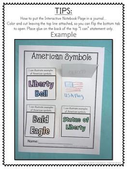 American SYMBOLS Kindergarten and 1st Grade Journal
