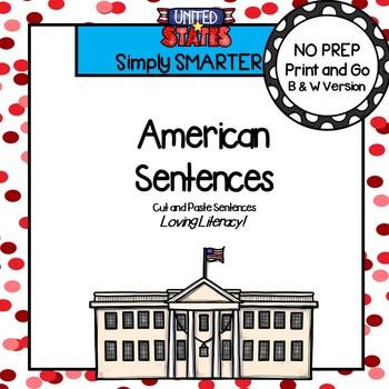 NO PREP American Symbols Themed Cut and Paste Sentences