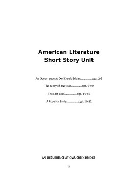 American Short Stories in a packet: Faulkner, Chopin, O'Henry, Bierce
