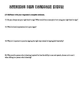 American Sign Language 1 quiz