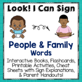 Sign Language Printables, Flash Cards and Activities for PEOPLE and FAMILY WORDS
