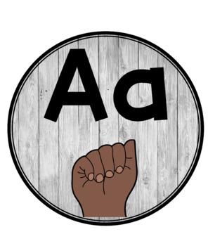 American Sign Language (ASL) Alphabet Line Shiplap Circles