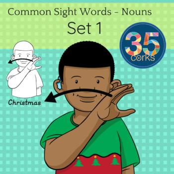 American Sign Language ASL Clip Art - Dolch Words Nouns SET 1