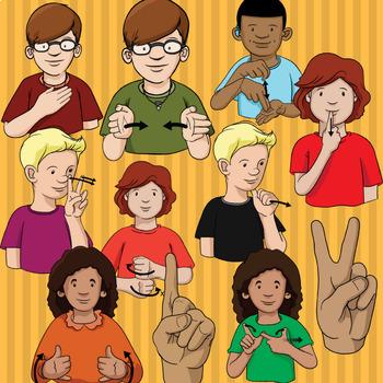 American Sign Language ASL Clip Art - Dolch Words Set 1 - Pre-Primer Words