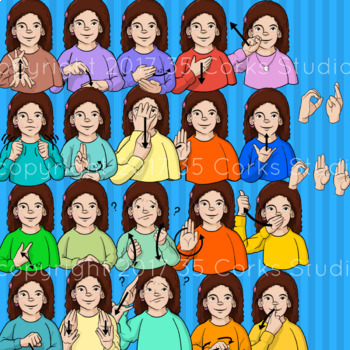 American Sign Language ASL Clip Art - Dolch Words Set 4 - Second-Grade Words