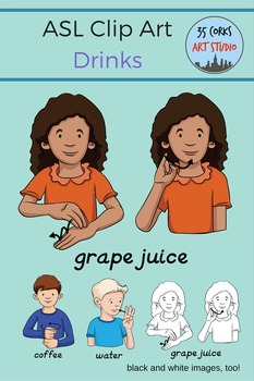 American Sign Language ASL Clip Art - Drinks