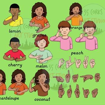 American Sign Language ASL Clip Art - Fruits