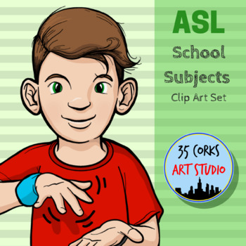 American Sign Language ASL Clip Art - School Subjects, Cla