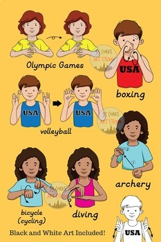 American Sign Language ASL Clip Art - Sports and the Olympic Games