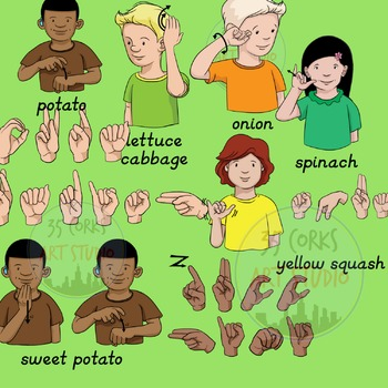 American Sign Language ASL Clip Art - Vegetables