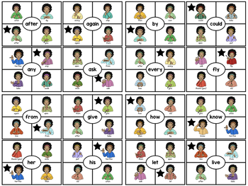 ASL American Sign Language Clip Cards - First Grade Sight Words