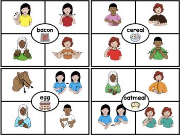 American Sign Language ASL Clip Cards - Mealtime