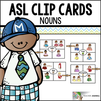 American Sign Language ASL Clip Cards - Nouns