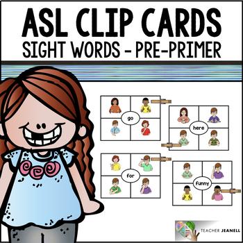 American Sign Language ASL Clip Cards - Pre-Primer Sight Words
