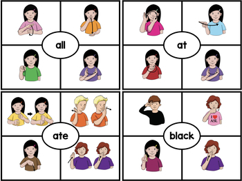 American Sign Language ASL Clip Cards - Primer Sight Words