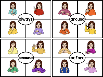 ASL American Sign Language Clip Cards - Second Grade Sight Words