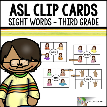 American Sign Language ASL Clip Cards - Third Grade Sight Words