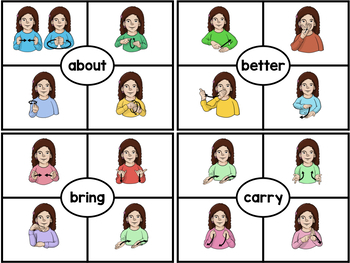 ASL American Sign Language Clip Cards - Third Grade Sight Words