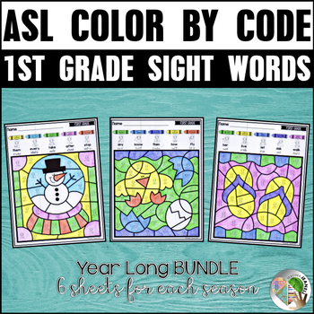 American Sign Language ASL Color by First Grade Sight Words (Year Long Bundle)