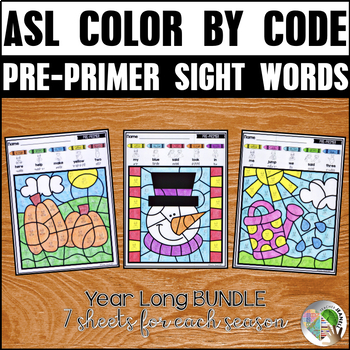 American Sign Language ASL Color by Pre-Primer Sight Words (Year Long Bundle)