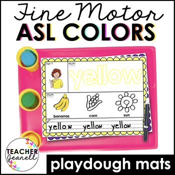 ASL American Sign Language Colors Playdough Mats