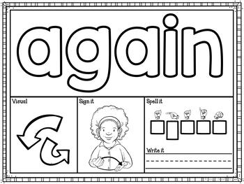 ASL American Sign Language Core Words Playdough Mats