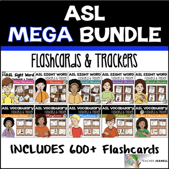 ASL American Sign Language Flashcards & Trackers - MEGA Bundle