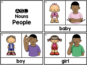 American Sign Language ASL Flashcards & Tracker - Nouns