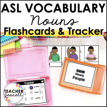 ASL American Sign Language Vocabulary Cards & Tracker - Nouns