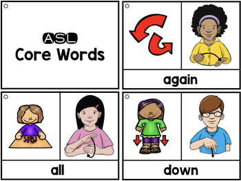 ASL American Sign Language Flashcards & Tracker -  Verbs and Core Words