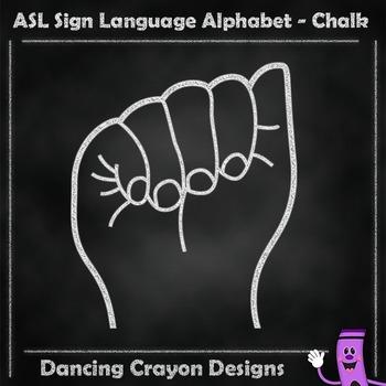 ASL American Sign Language:  ASL Hand Sign Alphabet: Chalk