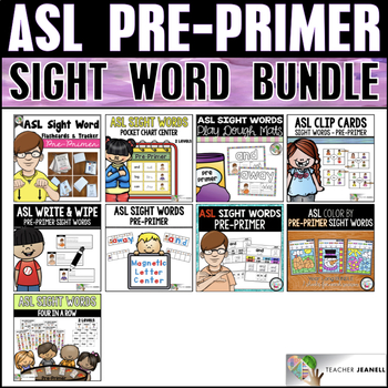 ASL American Sign Language Pre-Primer Sight Word Bundle