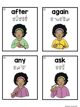 ASL American Sign Language Sight Word Flashcards & Tracker - First Grade