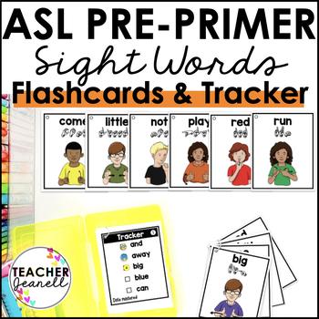 American Sign Language ASL Sight Word Flashcards & Tracker - Pre-Primer
