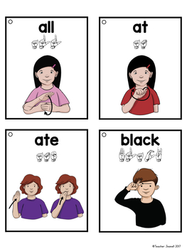 American Sign Language ASL Sight Word Flashcards & Tracker - Primer