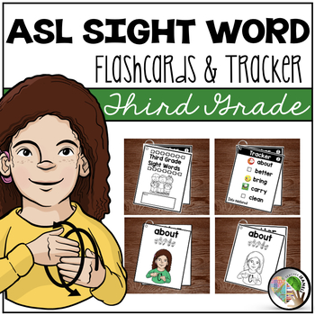 American Sign Language ASL Sight Word Flashcards & Tracker - Third Grade