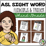 ASL American Sign Language Sight Word Flashcards & Tracker - Third Grade