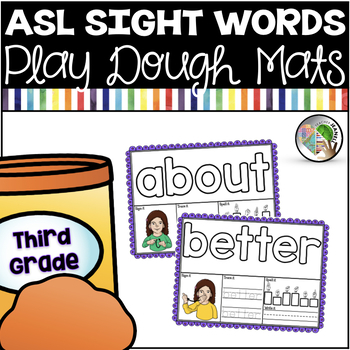 American Sign Language ASL Sight Word Play Dough Mats - Third Grade