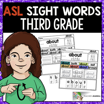 American Sign Language ASL Sight Word Practice Packet - Third Grade