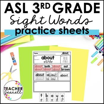 ASL American Sign Language Sight Word Practice Packet - Third Grade